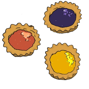 Three types of jam tart