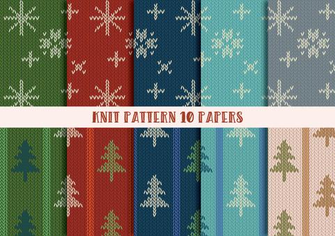 Knit Pattern Set (Snow and Fir Tree)