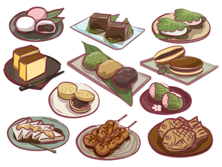 Assorted Japanese sweets stylish ver