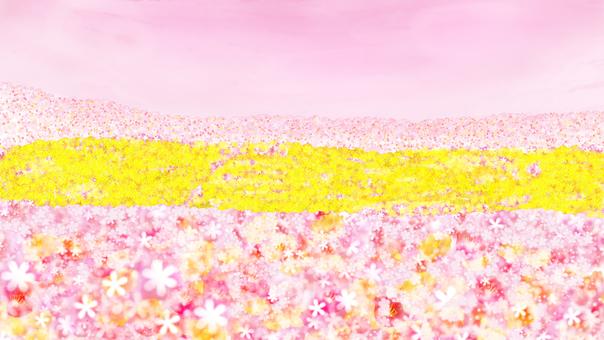 확산 꽃밭 핑크 하늘