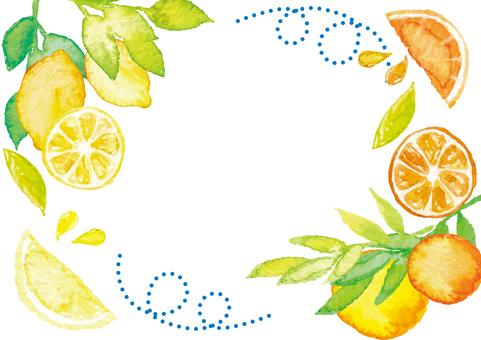 Watercolor style citrus frame