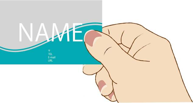 Business cards and hands