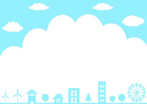街並み 入道雲