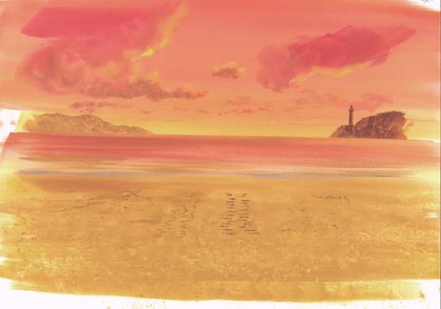 Evening sand beach