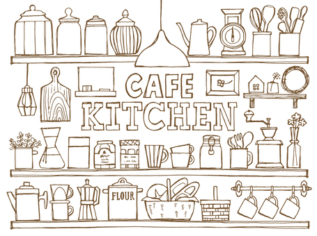 Cafe Kitchen Shelves pintado a mano blanco