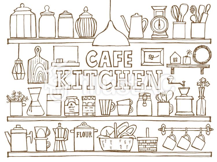 カフェキッチン棚手描き白イラスト No 410148無料イラストなら