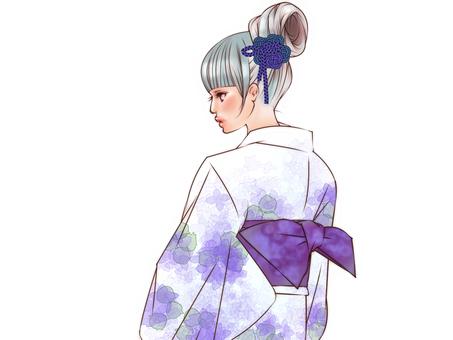 浴衣(紫陽花)