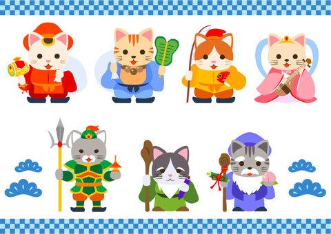 Seven Lucky Gods of a cat