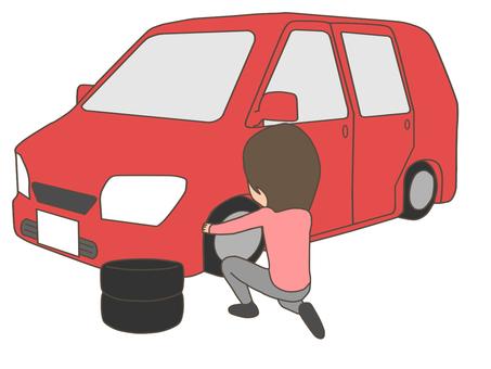 Women who change tires