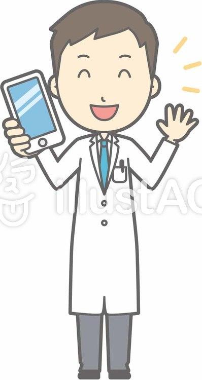 青年医師-スマホ持つ-全身のイラスト