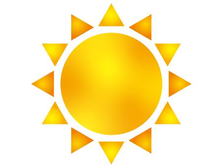 Illustration of the sun A orange gradient