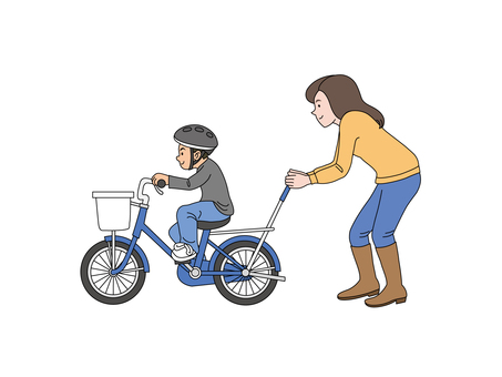My son and mum who practice bicycles