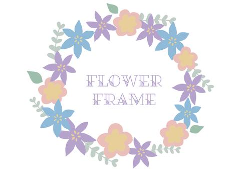 パステルカラーの花のフレーム