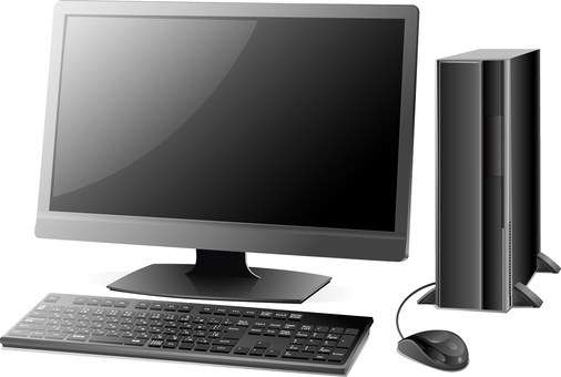 Real desktop computer set