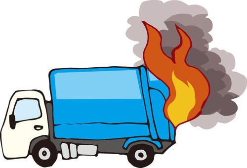 Garbage truck (fire accident)