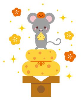 鏡餅チーズに乗っているネズミ イラスト