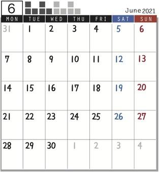 2021 캘린더 블록 - 6 월