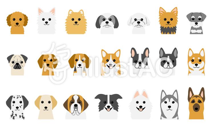 犬の顔セット 21種イラスト No 979773無料イラストならイラストac