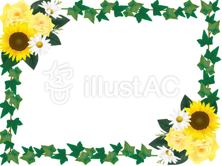 黄色い花と緑のフレームのイラスト