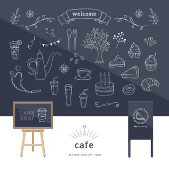 Cafe blackboard illustration set