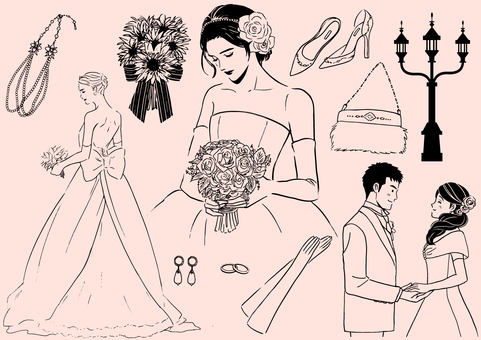 Wedding set monochrome line drawing ver.