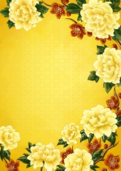 牡丹と中華風イラスト