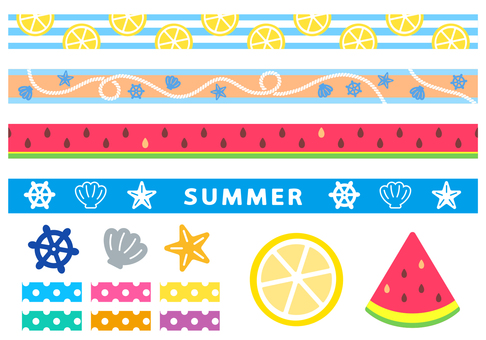 Ribbon material of illustration which seems to be summer