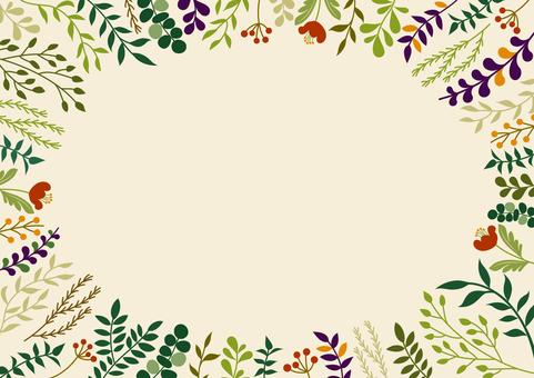 こっくりカラーの草花のフレーム