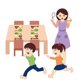 Children running around before meals