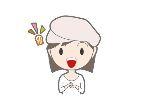Female upper body wearing something blurred beret