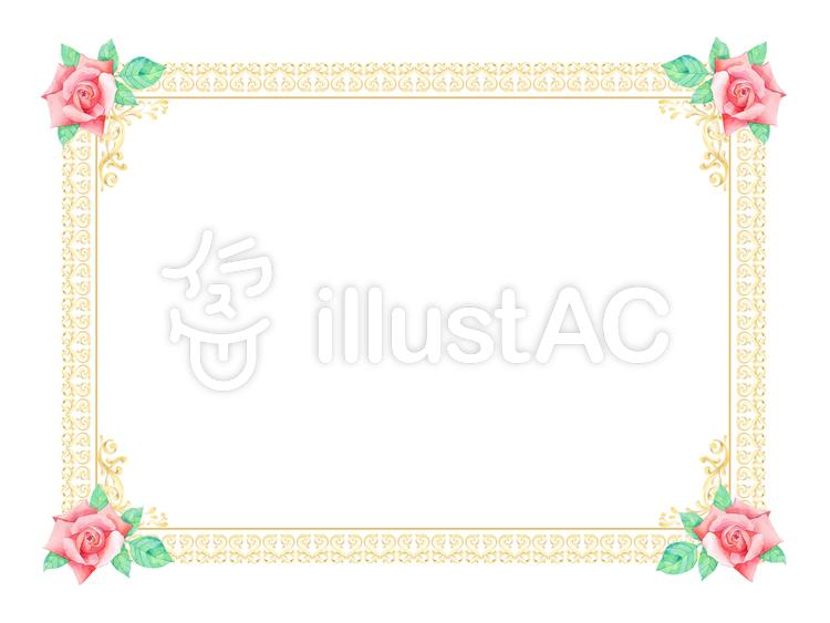 薔薇の枠 ★0378-Rのイラスト