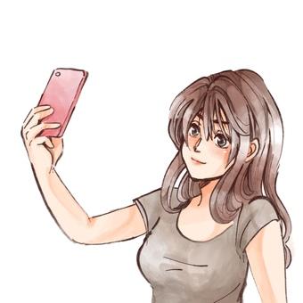 A woman taking self-taking