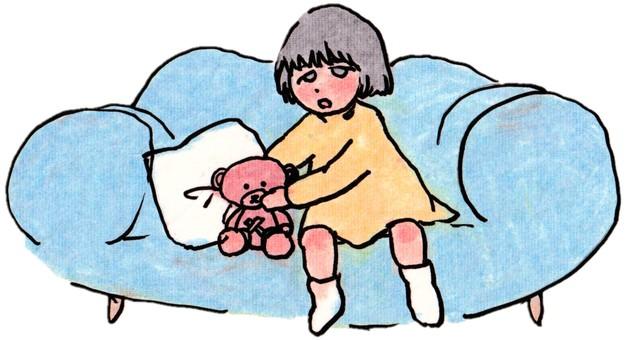 Anxious girl and teddy bear