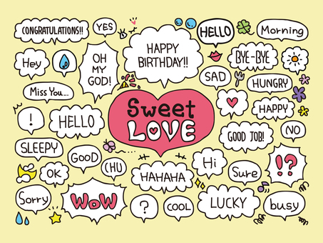 Speech balloon set with words