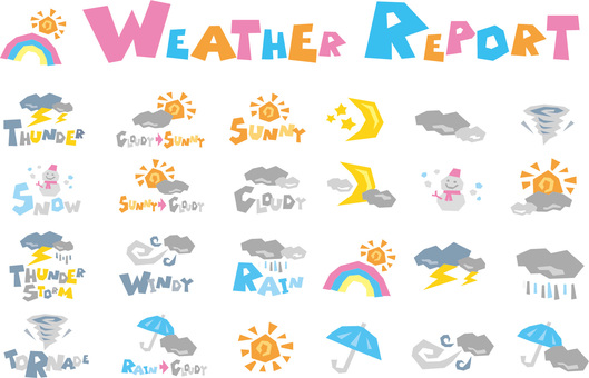 Weather forecast icon set + English letter POP logo