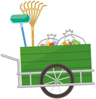 Garbage cleaning wheelbarrow