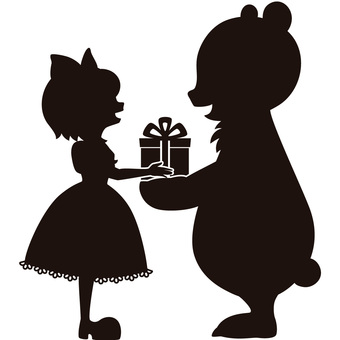 Bear and girl silhouette B