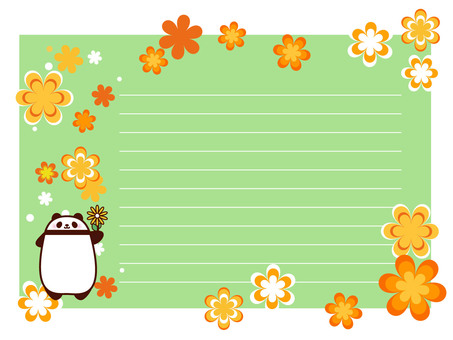 Panda and flowers letter book style note frame