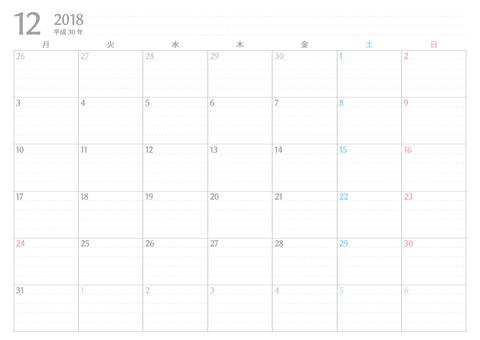 書き込みカレンダー月始め2018年12月