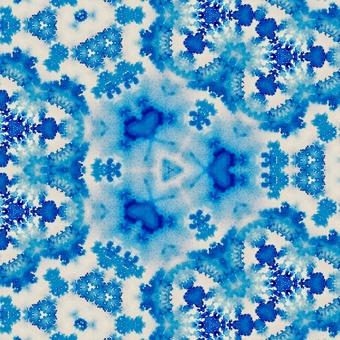 Watercolor color kaleidoscope pattern blue