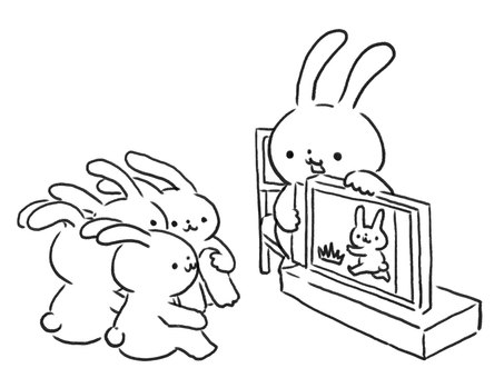[Line drawing] Nursery rabbit showing a picture-story show
