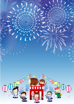 Summer festival fireworks display vertical frame of Bon Odori
