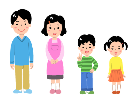 両親と子ども(部屋着)