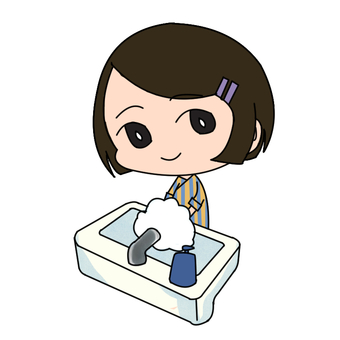 A woman whisking soap and washing her hands