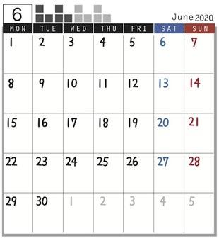 2020 Calendar block June