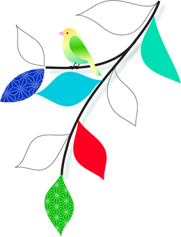 Illustration of leaves and birds