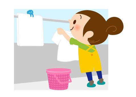 세탁을하는 여성 (선 없음)