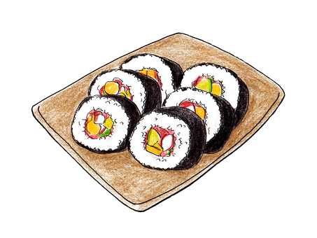 Thick rolled sushi