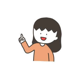 Girl pointing at a finger (lower left)