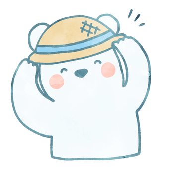 Watercolor polar bear (straw hat / blue)